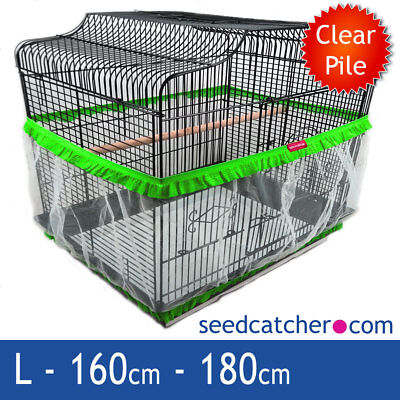 Bird Cage Seed Catcher Guard Tidy Pile Fabric Green Large 180cm Double Strap