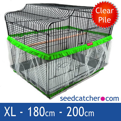 Bird Cage Seed Catcher Guard Tidy Pile Fabric Green XL 200cm Double Strap