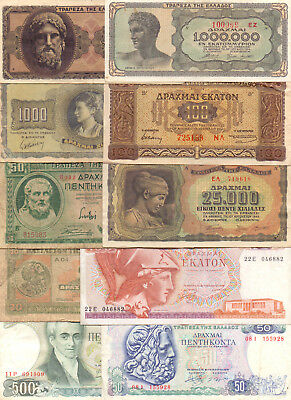Greece  - 10 Different Greek Banknotes (Lot-8)