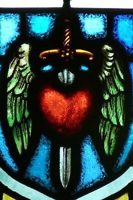 Vintage Church Sword of the Spirit Stained Glass Window