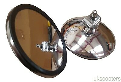 ukscooters VESPA LAMBRETTA HIGHLY POLISHED STAINLESS ROUND MIRROR HEAD x 2