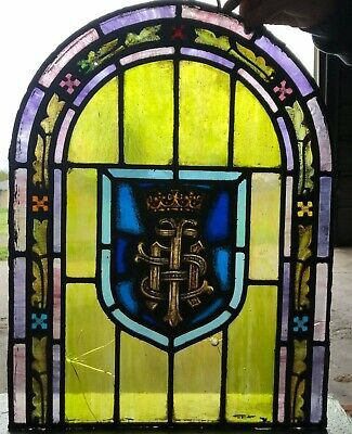 Vintage Church Eucharist IHS Stained Glass Window