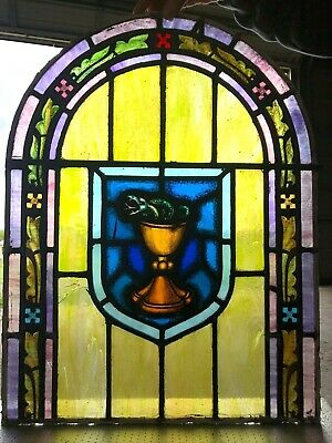 Vintage Church St. John's Chalice Stained Glass Window
