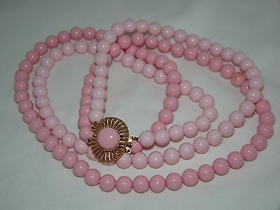 Vintage Gold Tone Metal Clasp Two Tone Pink Beads Double Strand Necklace 24""