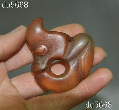 Collect Chinese Hongshan culture crystal hand carved dragon hook statue Pendant