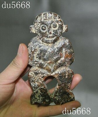Collect Chinese Hongshan culture old jade hand carved man people statue Pendant