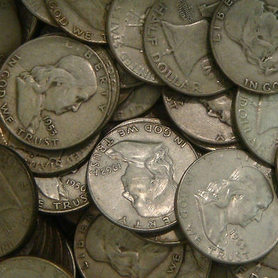 Lot of Old Coins One Troy Pound 90% Silver US Coins Mixed Franklin Halves