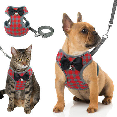 Red Grid Dog Harness and Leash set Mesh Padded for Small Medium Dogs Puppy Cat