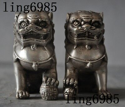 Old Chinese silver Fengshui Lion Fu Foo Dog Guardian Beast Animal Statue Pair