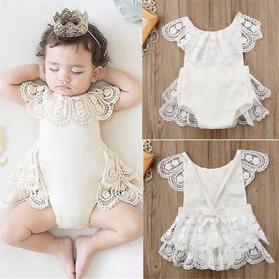 UK Toddler Infant Baby Girls Lace Flower Romper Bodysuit Jumpsuit Outfit Clothes