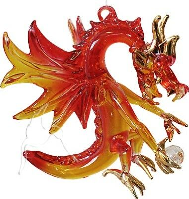 Hanging Glass Volcano Dragon - Orange/Red