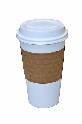 100 Paper Coffee Cup/Disposable Hot Cup 16 oz. WHITE with 100 Cappuccino Lids