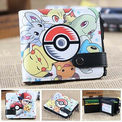 Pokemon Pikachu Elf ball Long Wallet Squirtle Charmander Leather Coin Purse