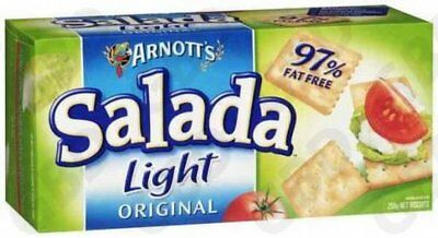 18x ARNOTTS CRACKERS SALADA 97% FAT FREE 250G