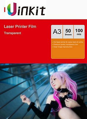 A3 Overhead Project OHP Film Clear for Laser Printer 420x297 Uinkit - 50 Sheets