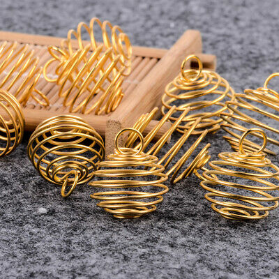 10x Gold/Bronze Plated Large Spiral Cages for Crystals and Gemstones Jewelry DIY