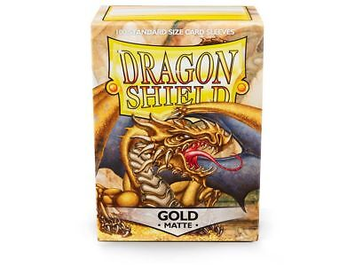 Dragon Shield Mat Gold 100 Protective Sleeves Cases Standard Card Holder