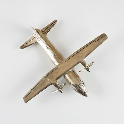 ANTIQUE VINTAGE STERLING SILVER MILITARY TRANSPORT AIRPLANE FIGURE 80 g