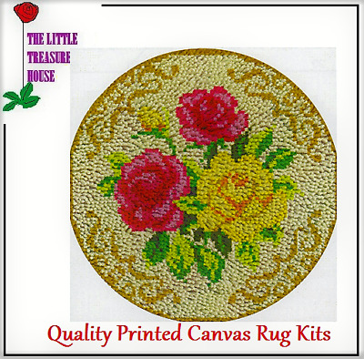 Round Triple rose rug Printed Canvas Latch Hook Rug Kit - Everything included