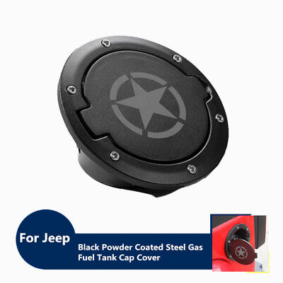 Black Powder Coated Steel Gas Fuel Tank Cap Cover for Jeep Wrangler JK Sahara