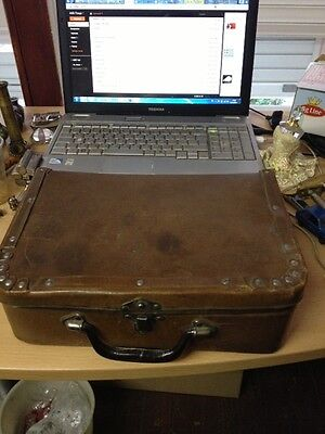 Old Vintage antique leather small suitcase rare