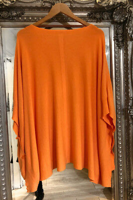 Knitted Side Button Poncho in Orange