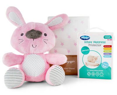 Playgro Home Fitted Sheet, Mattress Protector & Cuddly Bunny Bundle - Pink