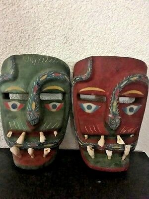 Wood Carved MexicanTribal Masks Wall Art