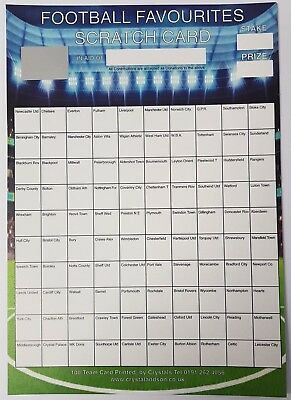 10 x A4 `Sacked` Football Fundraising Raffle Draw Tickets Scratch Cards