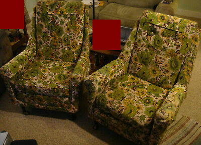 COOL CHAIRS Mid Century Retro Lounge Chairs Hippie Hollywood Danish High  Back VG
