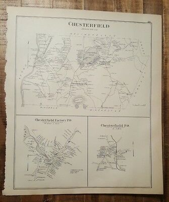 Antique MAP - CHESTERFIELD or NELSON- CHESHIRE CO. - N.HAMPSHIRE - 1892 ATLAS