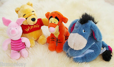 Winnie the Pooh Set of Disney Soft Toy with Tigger Eeyore Piglet