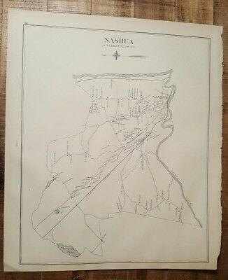 Antique MAP - NASHUA or NEW IPSWITCH - NEW HAMPSHIRE - 1892 ATLAS