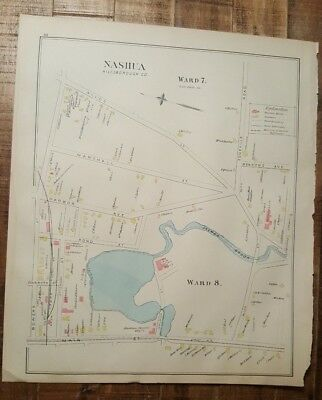 Antique MAP - MAP 1 OF NASHUA - HILLSBOROUGH COUNTY - NEW HAMPSHIRE - 1892 ATLAS