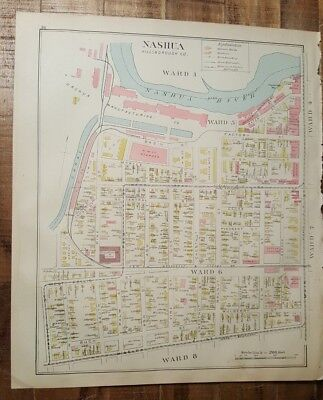 Antique MAP - MAP 2 OF NASHUA - HILLSBOROUGH COUNTY - NEW HAMPSHIRE - 1892 ATLAS