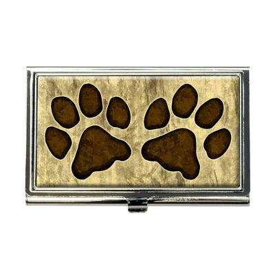 Grungy Pet Paw Prints Business Credit Card Holder Case