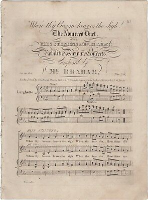BRAHAM JOHN Spartito Musica WHEN THY BOSOM HEAVES THE SIGH Narensky London 1820