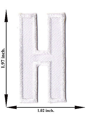 Alphabet H White Color English Letter Applique Iron on Patch Sew For T-shirt