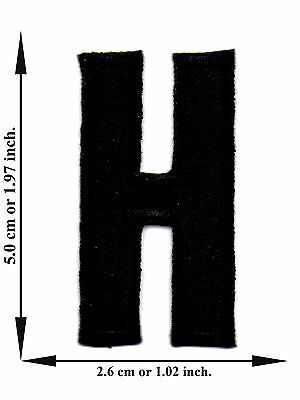 Alphabet H Black Color English Letter Applique Iron on Patch Sew For T-shirt