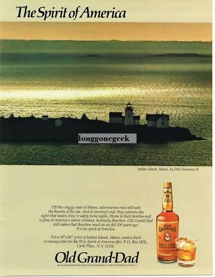 1983 Old Grand-dad Bourbon Spirit of America Indian Island Maine Vtg. Print Ad