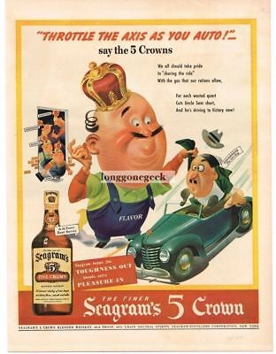 1943 Seagram's 5 Crown whiskey WWII Patriotic - Throttle The Axis Vtg. Print Ad