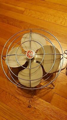 Vintage Used Fan  Art Deco Retro GE General Electric Metal Wire Cage FHW21