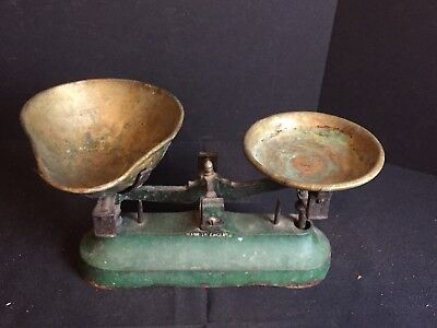 Antique Cast Iron General Store Candy Balance Scale with Brass Trays