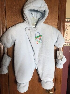 e4a650605 Absorba Winter Snowsuit Boys Baby 3-6 Months Blue Zip Front Hooded Mittens