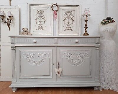 Gorgeous Large Antique French Carved Painted Oak Sideboard - C1900