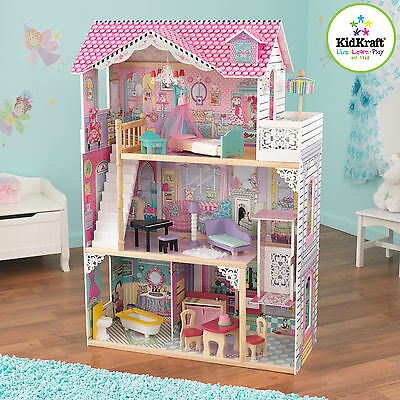 Kidkraft Annabelle Dollhouse, Large Wooden Doll House with Lift fits barbie doll