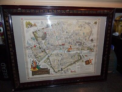 Vintage Map of York by Estra Clark 1947 hand coloured 59x46 in old frame