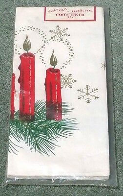 1950s MCM Christmas Tablecloth Cover Atomic Snowflake Pakay Party Paper Vintage