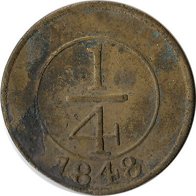 """1848 Dominican Republic 1/4 Real Coin Crosslet """"4"""" KM#2"""