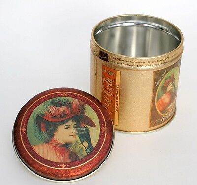 Coca Cola Vintage 1985 Tin Container of Victorian Woman Drink Sold 5 Cents